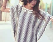 Grey Ivory Striped Boho Hippie Tassle Poncho - Sydney