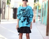 Turquoise Black Dragon Oversized Slouchy Sweater - Draggin'