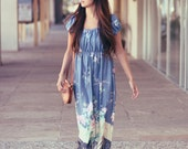 Floral Hippie Peasant Style Empire Waist Cap Sleeve Summer Dress - Emilie Enchanted