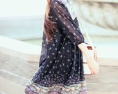 Black Printed Sheer Peasant Style Boho Hippie Summer Dress - Ms Sugar