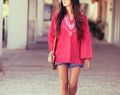 Red Mexican Ethnic Original Embroidered Hippie Bell Sleeve Blouse Shirt - Summer Sally