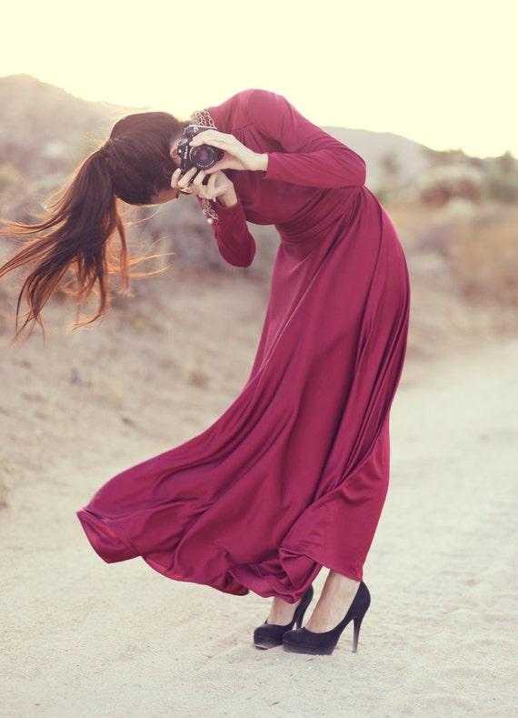 ORIGINAL Emma Domb 1960's Hollywood- Burgundy Red Evening Cocktail Long Maxi Dress - She Walks Like Burgundy