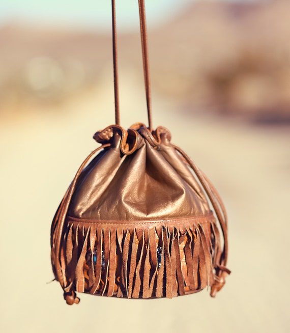 Boho Hippie Indian Turquoise Leather Fringe Purse - Poca-Want-This