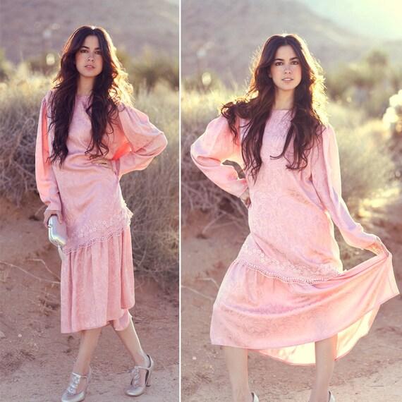 Pink Silk Midlength Lace Cocktail Dress - Fancy Nancy