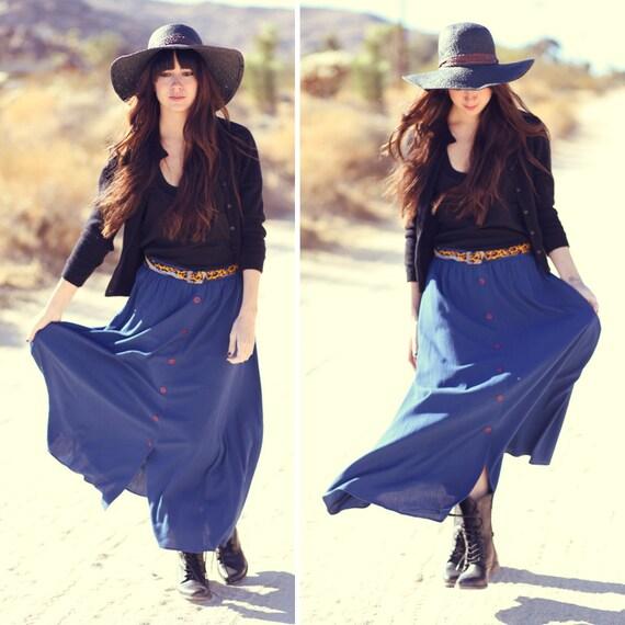 Slate Blue Button Down High Waisted Maxi Skirt - Blue