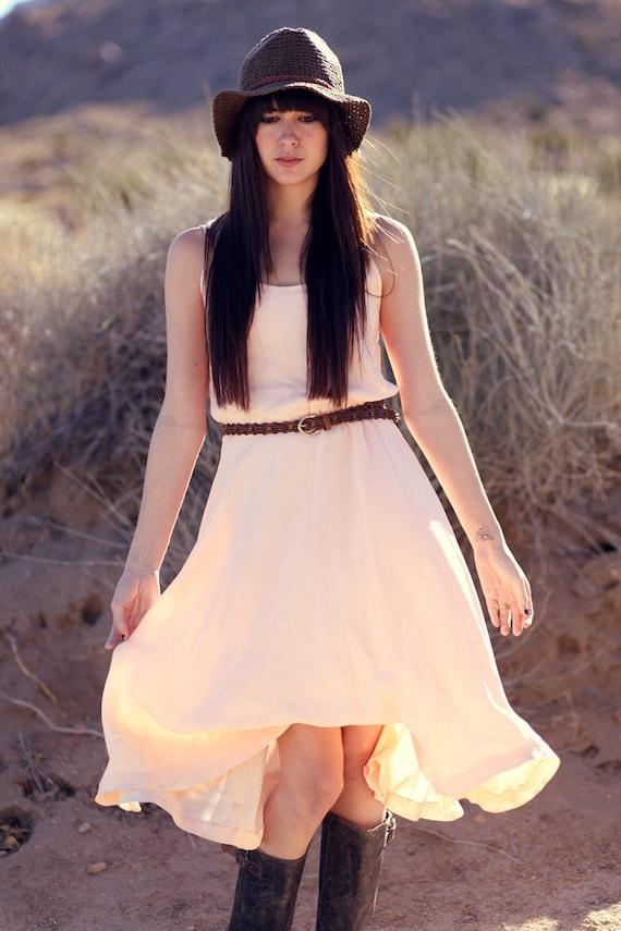 Peachy pink bridesmaid cinch waist midi dress perfectly for Cinched waist wedding dress