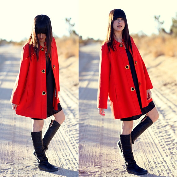 60's Mod Bright Red Brass Buckle Swing Coat Trench - Red Riding in the CIty