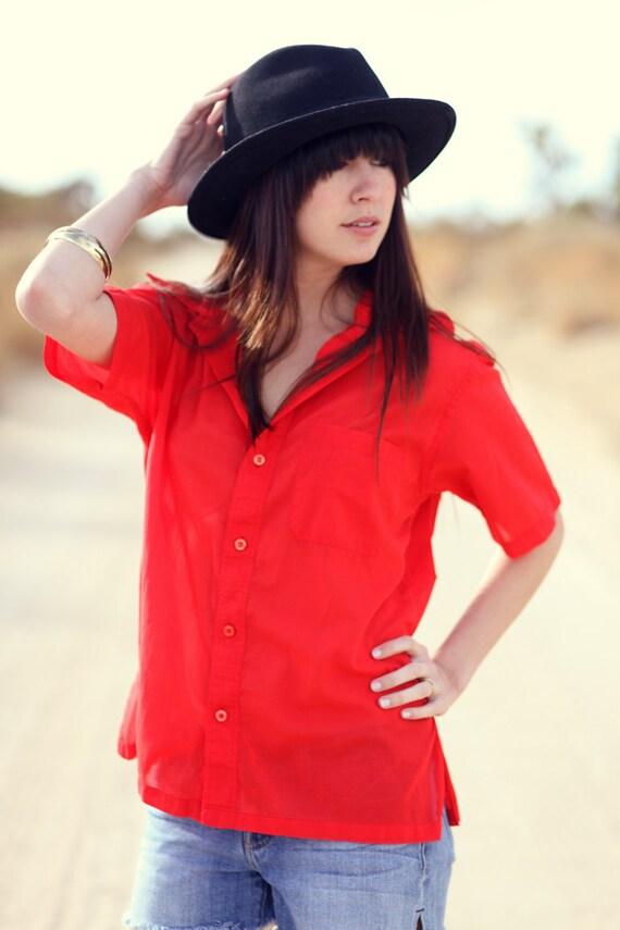 1960's Red Short Sleeve Menswear Button Down Safari Shirt Blouse - Ready Red