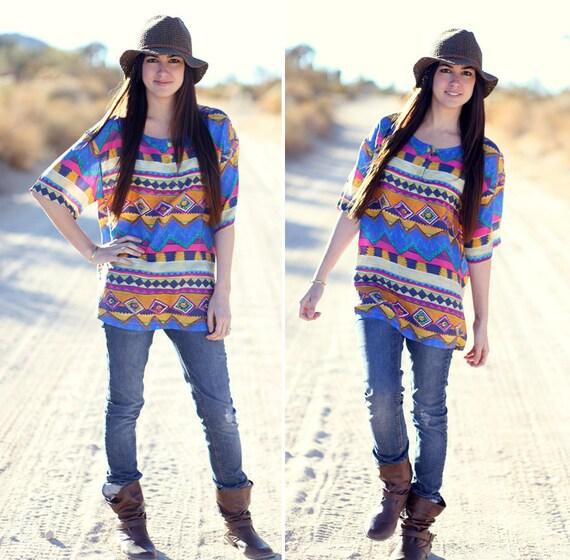 Bright Pink Blue Orange Southwestern Santa Fe Tribal Print Silk Short Sleeve Blouse Shirt Top - Tri Tiffany