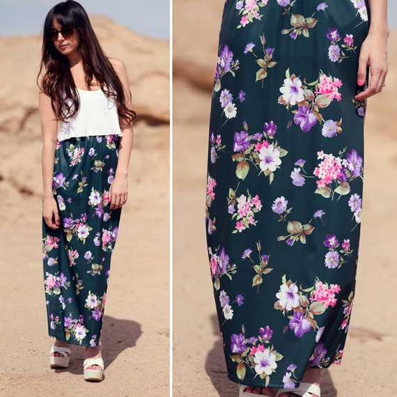 Silky Soft Evergreen Floral Long Maxi Skirt - Mossy