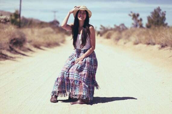 Pastel Spring Southwestern Fringe Boho Tiered Maxi Skirt - Fringin' Fab