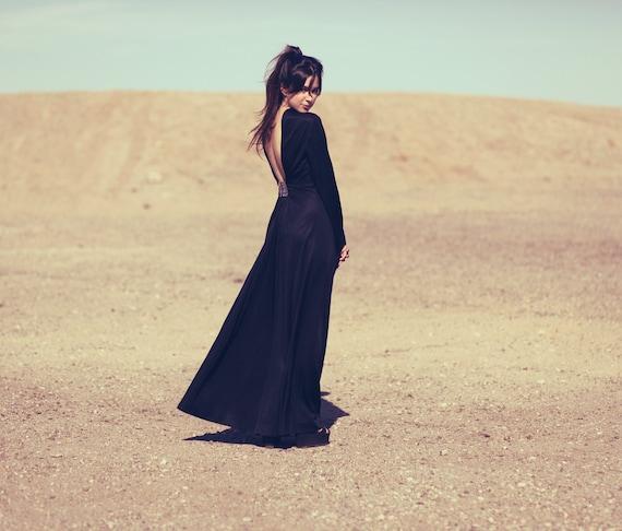 Black Formal Ultra Low Back Long Bell Sleeve Floorlength Cocktail Gown Dress - Eva
