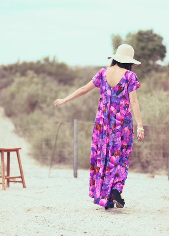 Berry Floral Long Hippie Maxi Dress - Delilah