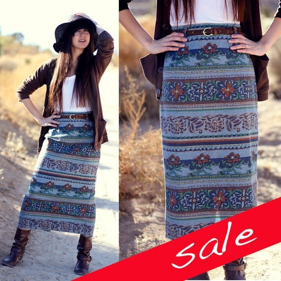 S A L E half off sale Floral Country Western Denim Maxi Skirt - Dora
