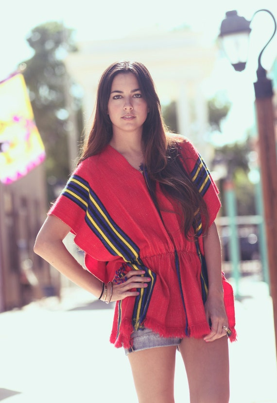 Red Striped Mexican Blanket Short Sleeve Poncho - Arriba
