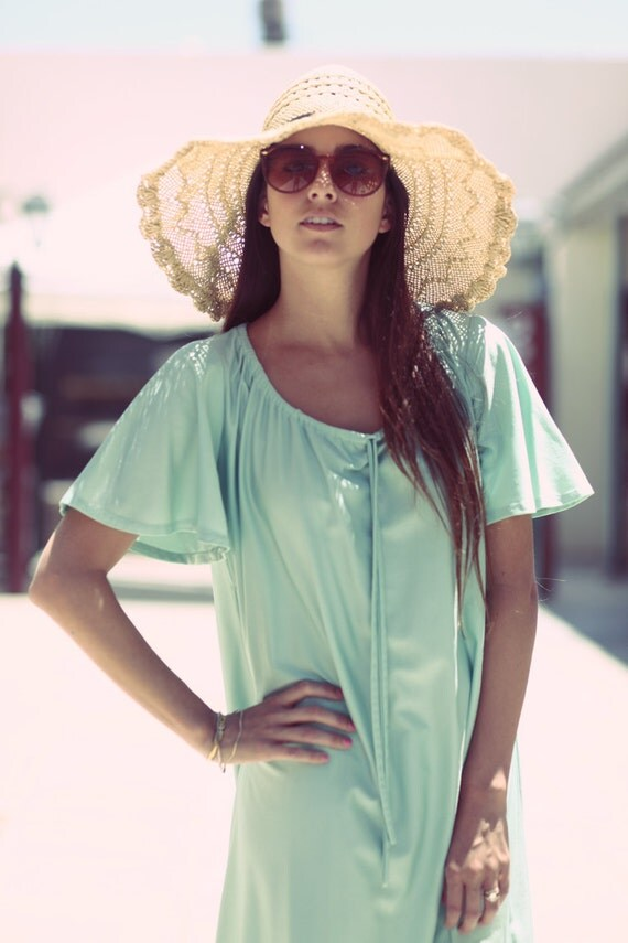 Seafoam Green Pastel Spring Summer Peasant Hippie House Dress - Mary Mary