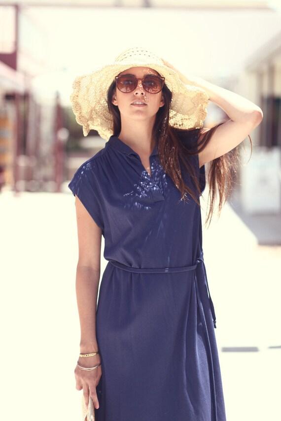 70s Classy Resort Retro Sring Summer Navy Ready To Wear Dress - Rita