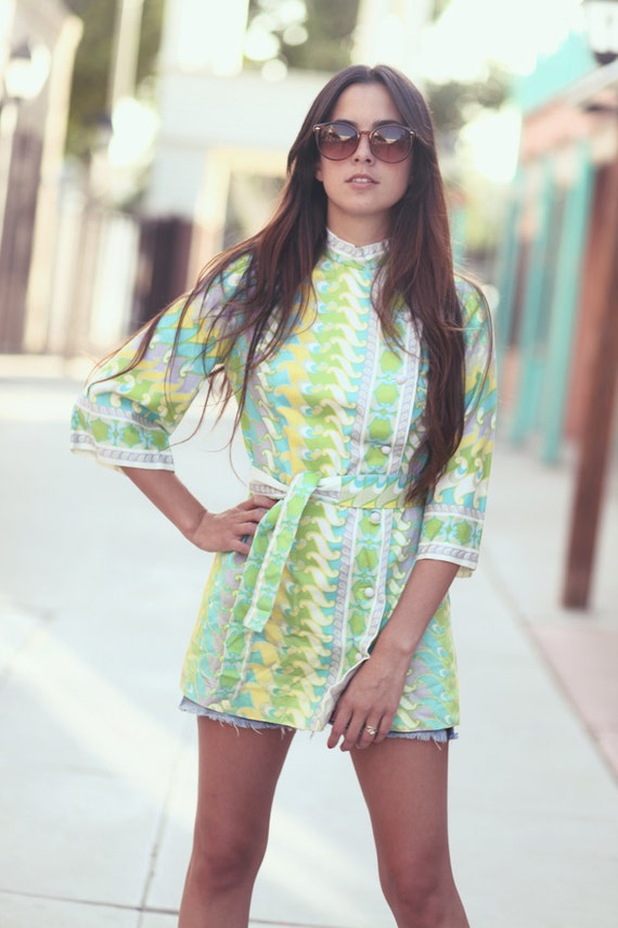 Pastel 60s Print Babydoll Button Up Top - Wendy