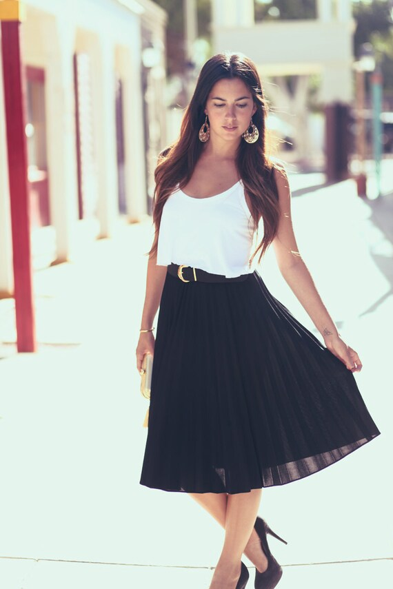 Black Accordian Pleat Classy Skirt - Johanna