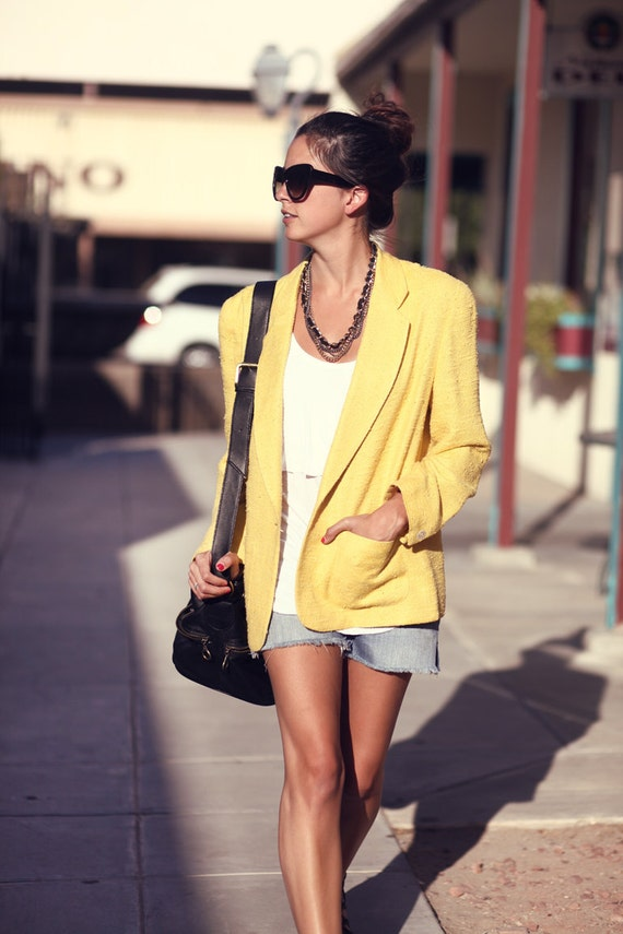 Bright Yellow Pocket Collared Blazer - Carrie