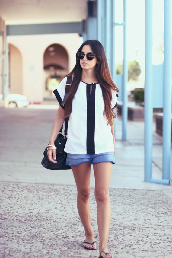 Black White Blouse Top - Stella Stylin