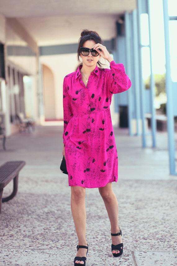 Hot Pink Fuscia Classy Mod Floral Long Sleeve Mini Dress - Tiffany in the Tropics