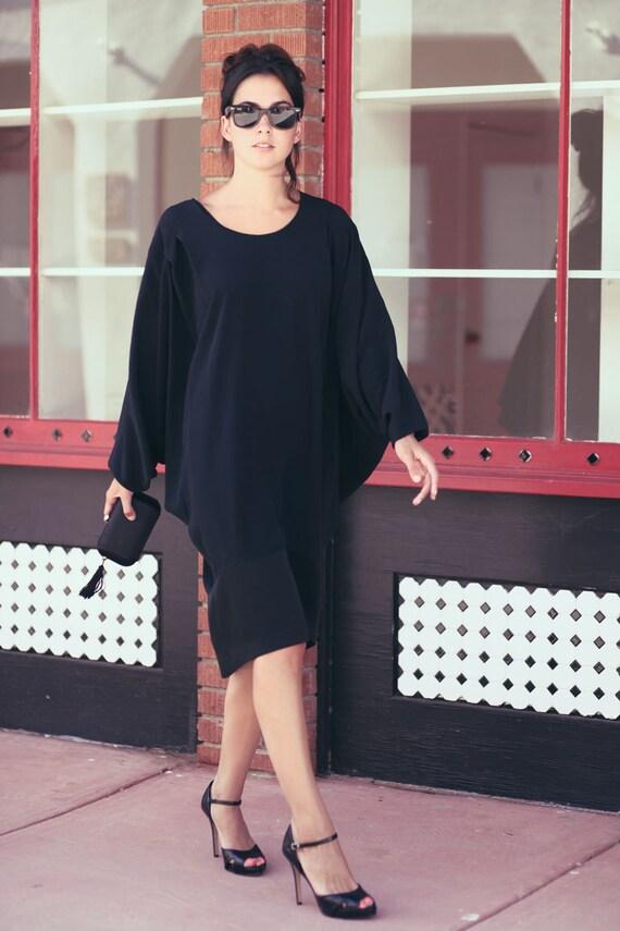 Black Elegant Dolman Sleeve Oversized Draped Grecian Dress - Draped Diana