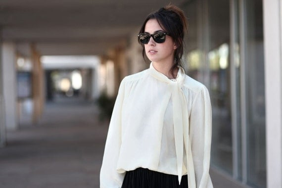 Ivory Sheer Neck Tie Long Sleeve Preppy Classy Peasant Blouse - Beatrice