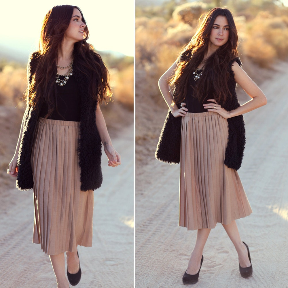 Nude Camel Tan Blush Acordian Pleat Midi Skirt Coco Classy