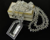 SALE Art Deco Crystal Necklace Silver Rhodium Filigree Clear Glass Pendant & Beads 1930s Bridal Wedding Jewelry