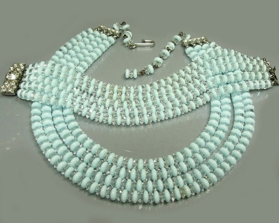 1950s BLUE GLASS SET Opaline Glass Clear Crystal & Rhinestones Necklace And Bracelet