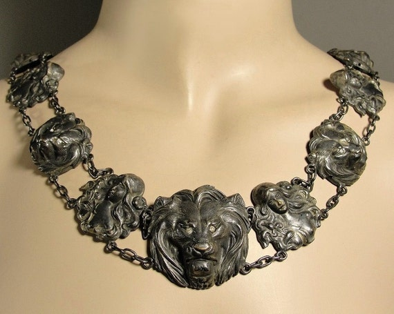 RESERVED...do not purchase...Rare Antique Art Nouveau Lion Heads & Maidens Silver Plate Belt Or Gothic Necklace