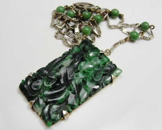 Art Deco Necklace Chinese Jade Sterling Silver Carved Bird & Flowers Stunning Green Stone Vintage 1930s Jewelry
