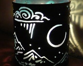Crescent Moon - candle holder - Recycled tin can freehand torch cut metalwork from New Mexico