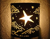 Star - night light - Recycled tin can freehand torch cut metalwork from New Mexico