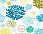 Colorful Blooms chrysanthemum SET - 02 (6inch)Clip Art