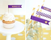 Rapunzel CUSTOM Sun Flags Cupcake Toppers Printable PDF with Child's Name