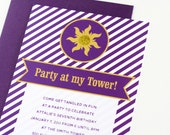"""Rapunzel Tangled inspired Party Invitations """"Party At My Tower"""" Personalized Printable Birthday Invites"""