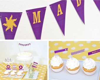 Rapunzel Sun CUSTOM Banner Printable with Child's Name Bunting