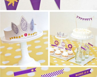 COMBO PACK Tangled Rapunzel Birthday Party Decor - Printable PDF Files