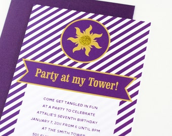 """Rapunzel Tangled inspired Party Invitations """"Party At My Tower"""" Personalized Printable Birthday Invites - INSTANT DOWNLOAD"""