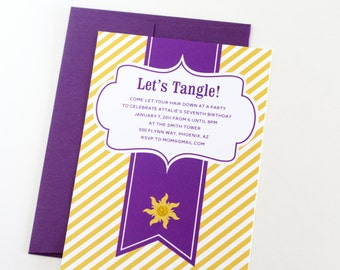 """Rapunzel Tangled inspired Invitations """"Let's Tangle"""" Personalized Printable Birthday Invites - INSTANT DOWNLOAD"""