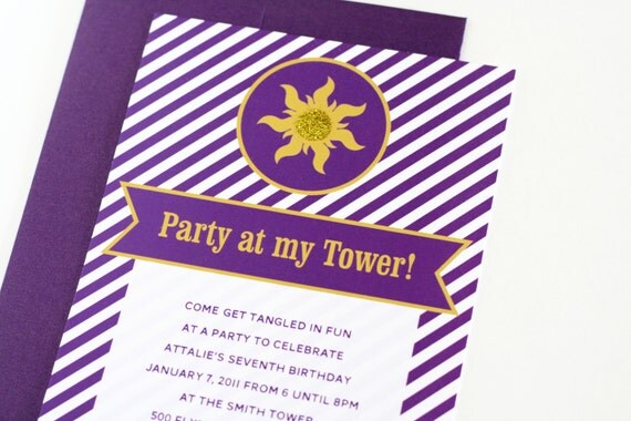 "Rapunzel Tangled inspired Party Invitations ""Party At My Tower"" Personalized Printable Birthday Invites - INSTANT DOWNLOAD"