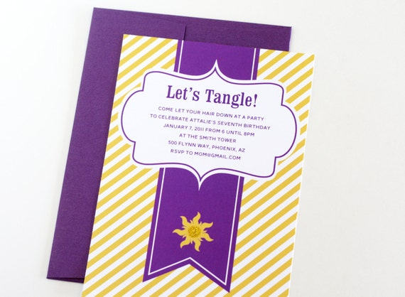 "Rapunzel Tangled inspired Invitations ""Let's Tangle"" Personalized Printable Birthday Invites"