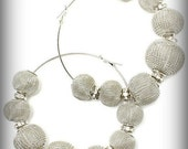 """SALE 15% off Who Ya Meshin' With - Silver Mesh Beads with Crystal Encrusted Charms Earrings """"Basketball Wives"""""""