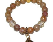 20% SALE Woodgrain - Brown Gemstone Stretch Bracelet with Gold CZ Pave Balls, Gold Stardust and Gold Hibiscus Flower Charm
