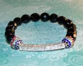 Nina - CZ bar, CZ pave ball and Czech Glass Beaded Stretch Bracelet