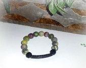 Rainforest - CZ bar, CZ pave ball, and Natural Turquoise Gemstone Stretch Bracelet