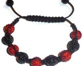 Frost - CZ Pave Ball Macrame, Friendship Honesty Beaded Bracelet. Unisex (Red & Black) Great to Wear in a STACK
