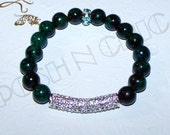 Torri II - Chrysocolla Gemstone, CZ Pave Tube, and CZ Pave Spacer Stretch Bracelet. Great to Stack